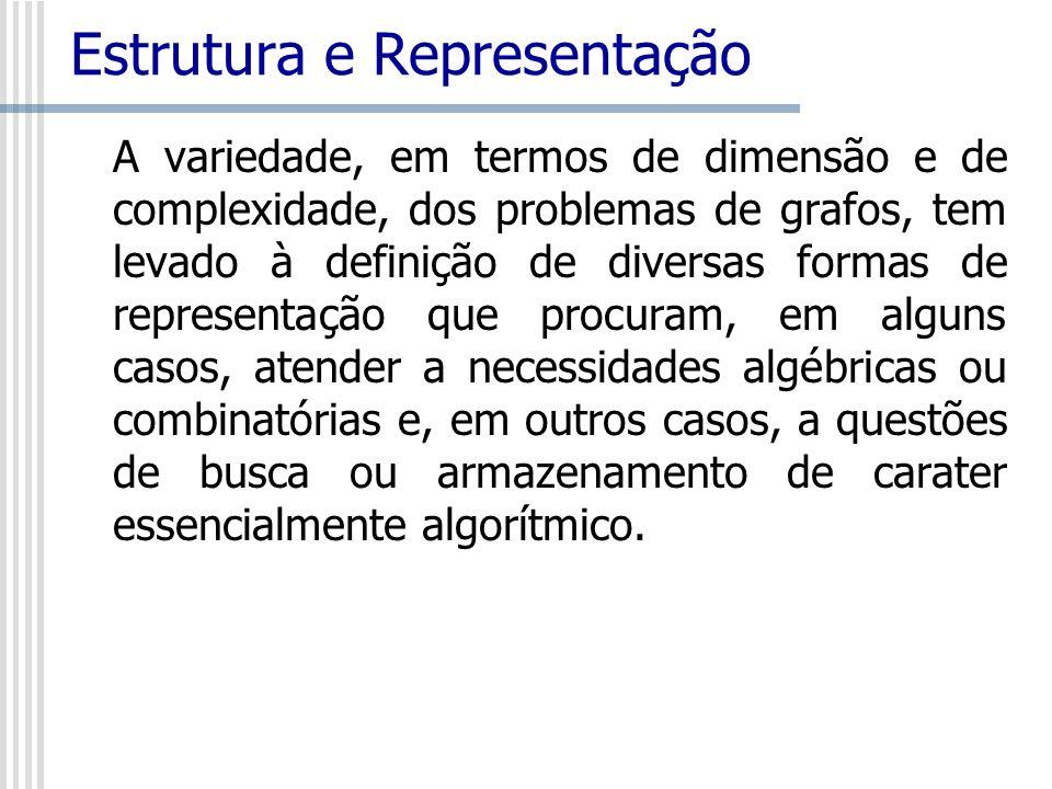 Estrutura e Representação A variedade, em termos de dimensão e de complexidade, dos problemas de grafos, tem levado à definição de diversas formas de