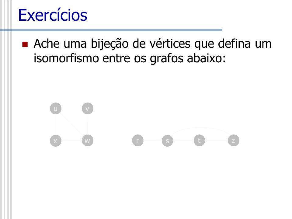 Exercícios Ache uma bijeção de vértices que defina um isomorfismo entre os grafos abaixo: uv x wrz s t