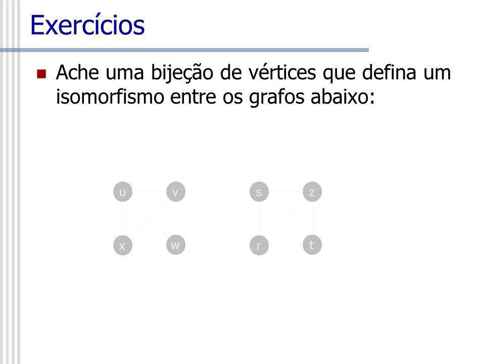 Exercícios Ache uma bijeção de vértices que defina um isomorfismo entre os grafos abaixo: uv x w sz r t