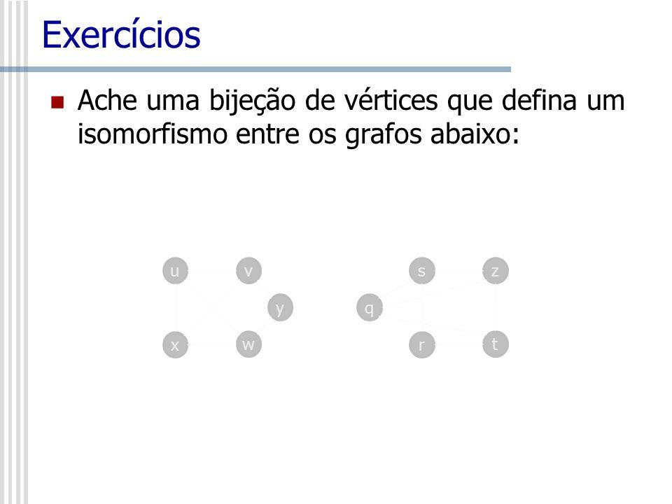 Exercícios Ache uma bijeção de vértices que defina um isomorfismo entre os grafos abaixo: uv x w sz r t yq