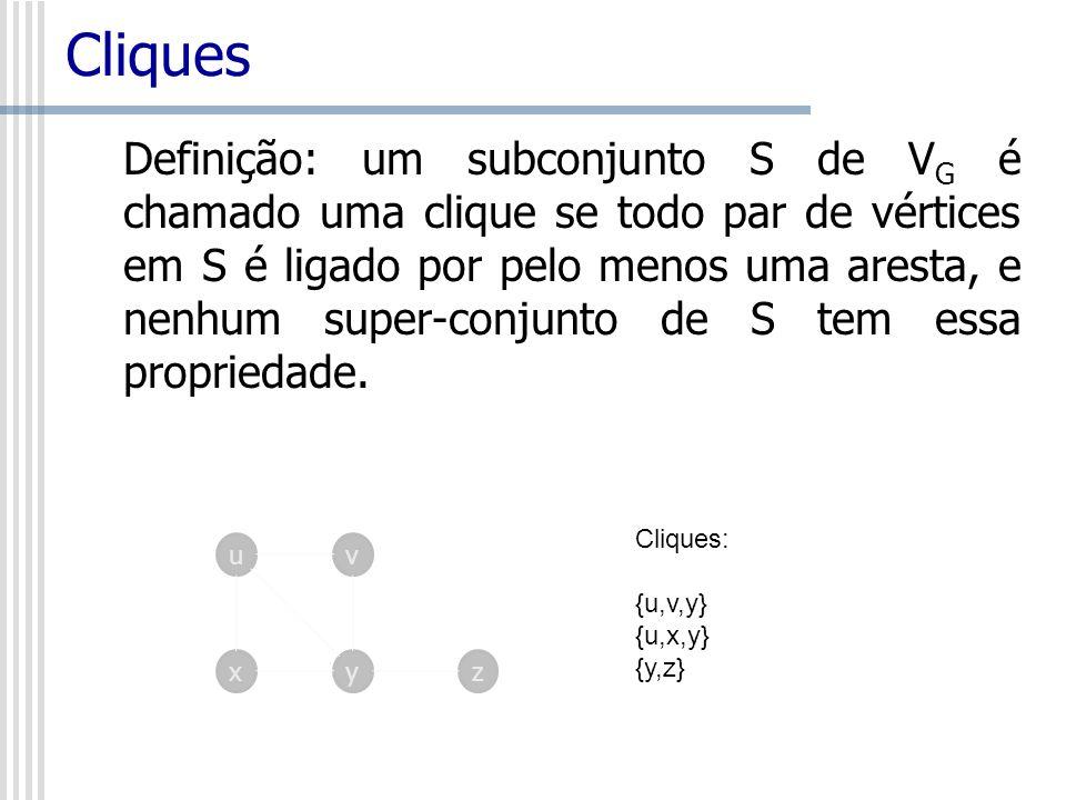 Cliques Definição: um subconjunto S de V G é chamado uma clique se todo par de vértices em S é ligado por pelo menos uma aresta, e nenhum super-conjun