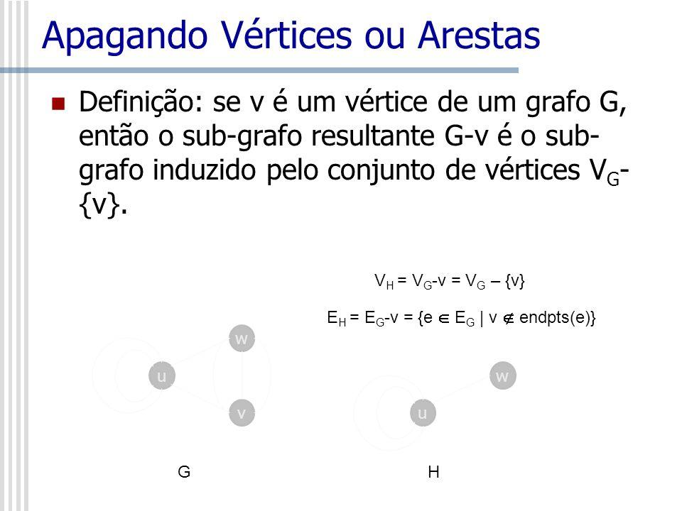 Apagando Vértices ou Arestas Definição: se v é um vértice de um grafo G, então o sub-grafo resultante G-v é o sub- grafo induzido pelo conjunto de vér