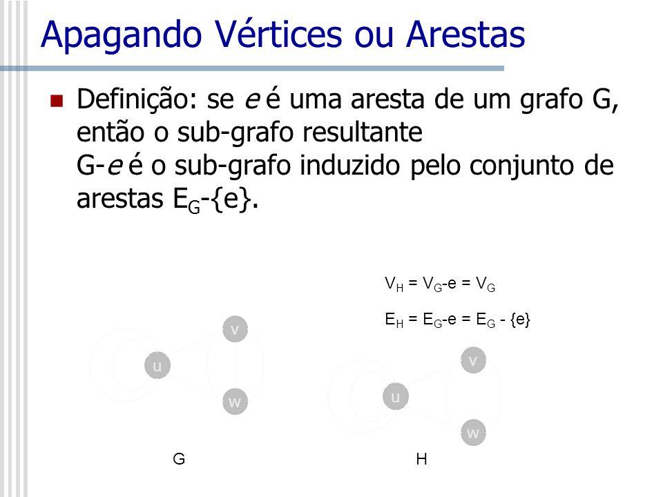 Apagando Vértices ou Arestas Definição: se e é uma aresta de um grafo G, então o sub-grafo resultante G-e é o sub-grafo induzido pelo conjunto de ares