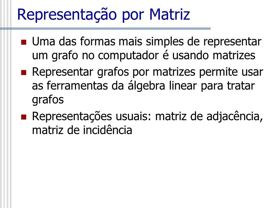 Representação por Matriz Uma das formas mais simples de representar um grafo no computador é usando matrizes Representar grafos por matrizes permite u