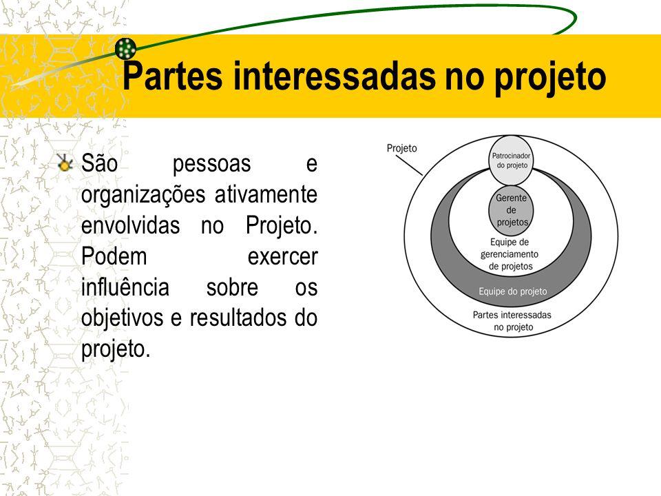 Partes interessadas no projeto São pessoas e organizações ativamente envolvidas no Projeto. Podem exercer influência sobre os objetivos e resultados d