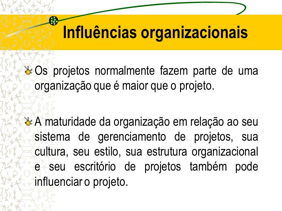 Influências organizacionais Os projetos normalmente fazem parte de uma organização que é maior que o projeto. A maturidade da organização em relação a