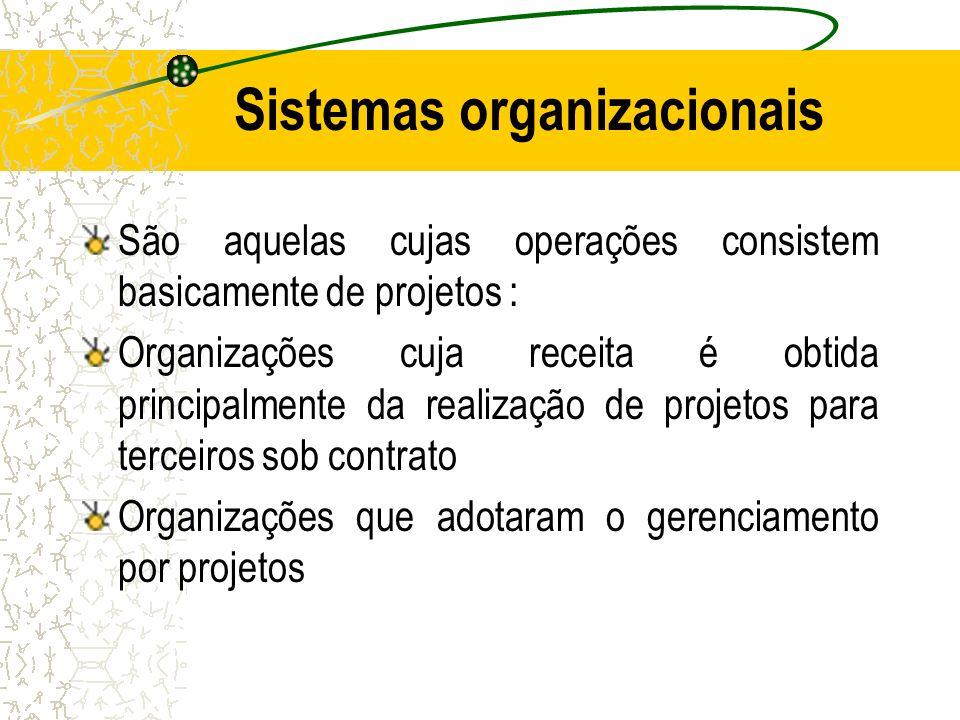 Sistemas organizacionais São aquelas cujas operações consistem basicamente de projetos : Organizações cuja receita é obtida principalmente da realizaç