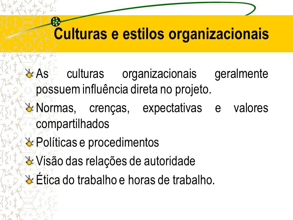 Culturas e estilos organizacionais As culturas organizacionais geralmente possuem influência direta no projeto. Normas, crenças, expectativas e valore