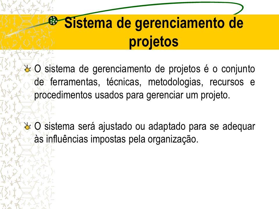Sistema de gerenciamento de projetos O sistema de gerenciamento de projetos é o conjunto de ferramentas, técnicas, metodologias, recursos e procedimen
