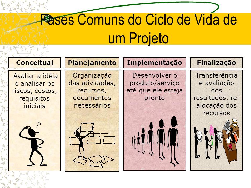 Fases Comuns do Ciclo de Vida de um Projeto ConceitualPlanejamentoImplementaçãoFinalização Avaliar a idéia e analisar os riscos, custos, requisitos in