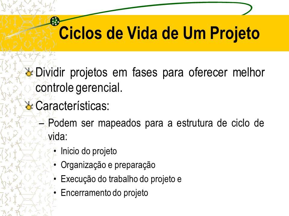 Ciclos de Vida de Um Projeto Dividir projetos em fases para oferecer melhor controle gerencial. Características: –Podem ser mapeados para a estrutura