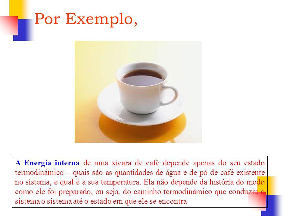 Por Exemplo, A Energia interna de uma xícara de café depende apenas do seu estado termodinâmico – quais são as quantidades de água e de pó de café exi