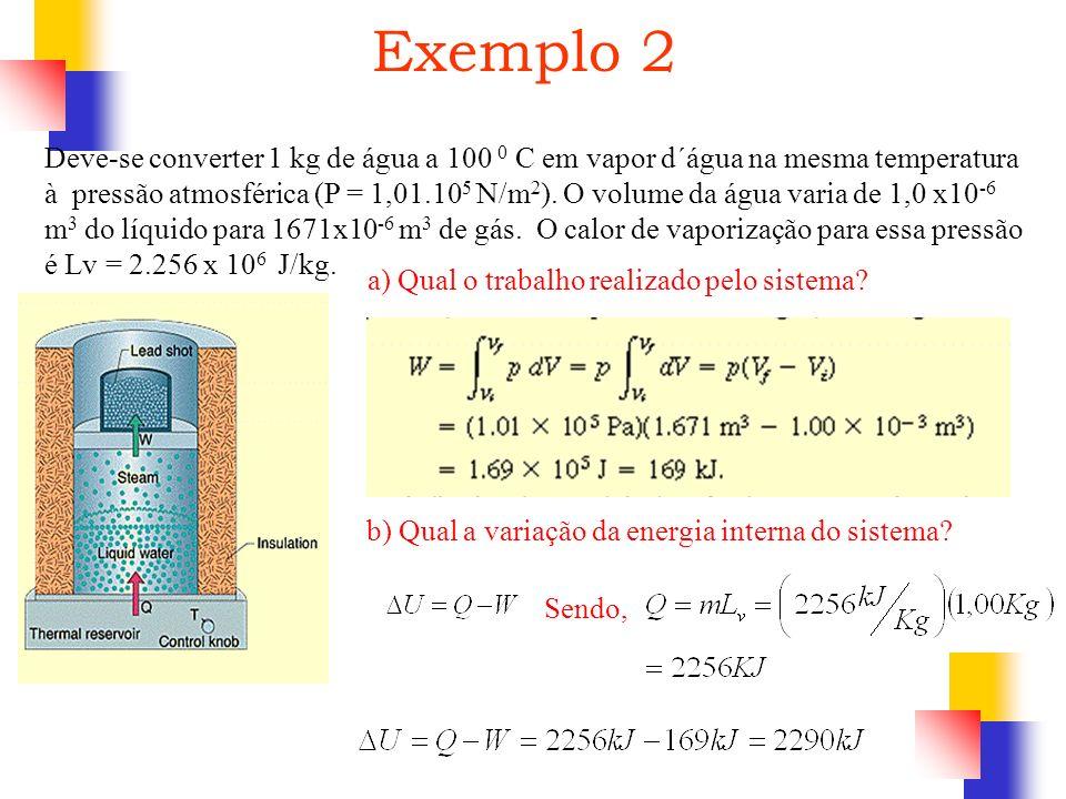 Deve-se converter 1 kg de água a 100 0 C em vapor d´água na mesma temperatura à pressão atmosférica (P = 1,01.10 5 N/m 2 ). O volume da água varia de