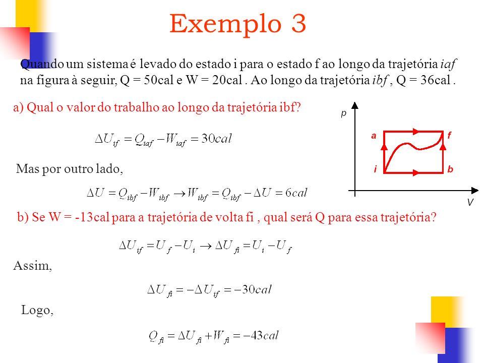 Quando um sistema é levado do estado i para o estado f ao longo da trajetória iaf na figura à seguir, Q = 50cal e W = 20cal. Ao longo da trajetória ib