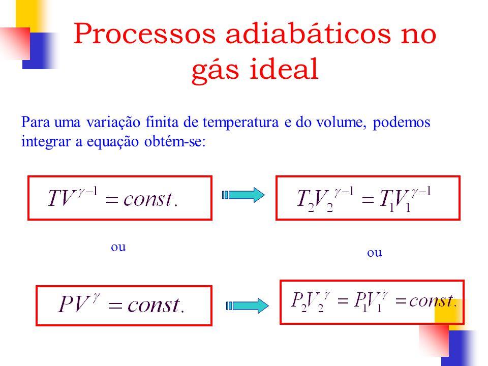 Para uma variação finita de temperatura e do volume, podemos integrar a equação obtém-se: Processos adiabáticos no gás ideal ou