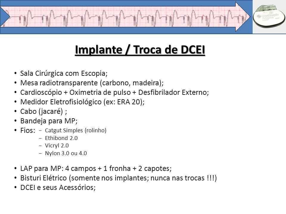 Implante / Troca de DCEI Sala Cirúrgica com Escopia; Mesa radiotransparente (carbono, madeira); Cardioscópio + Oximetria de pulso + Desfibrilador Exte