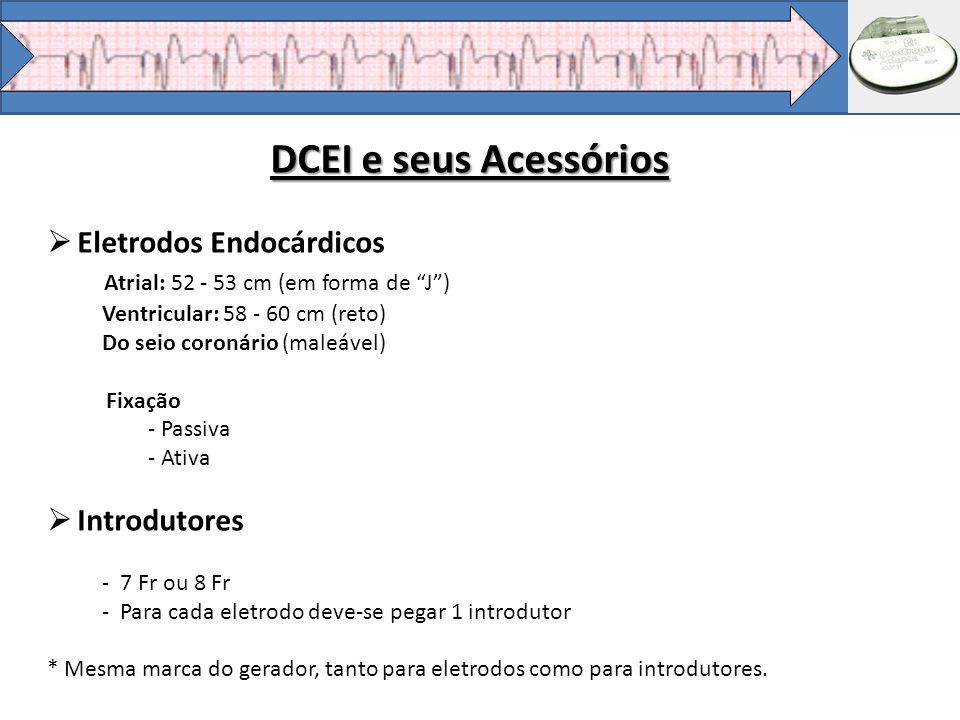 Eletrodos Endocárdicos Atrial: 52 - 53 cm (em forma de J) Ventricular: 58 - 60 cm (reto) Do seio coronário (maleável) Fixação - Passiva - Ativa Introd