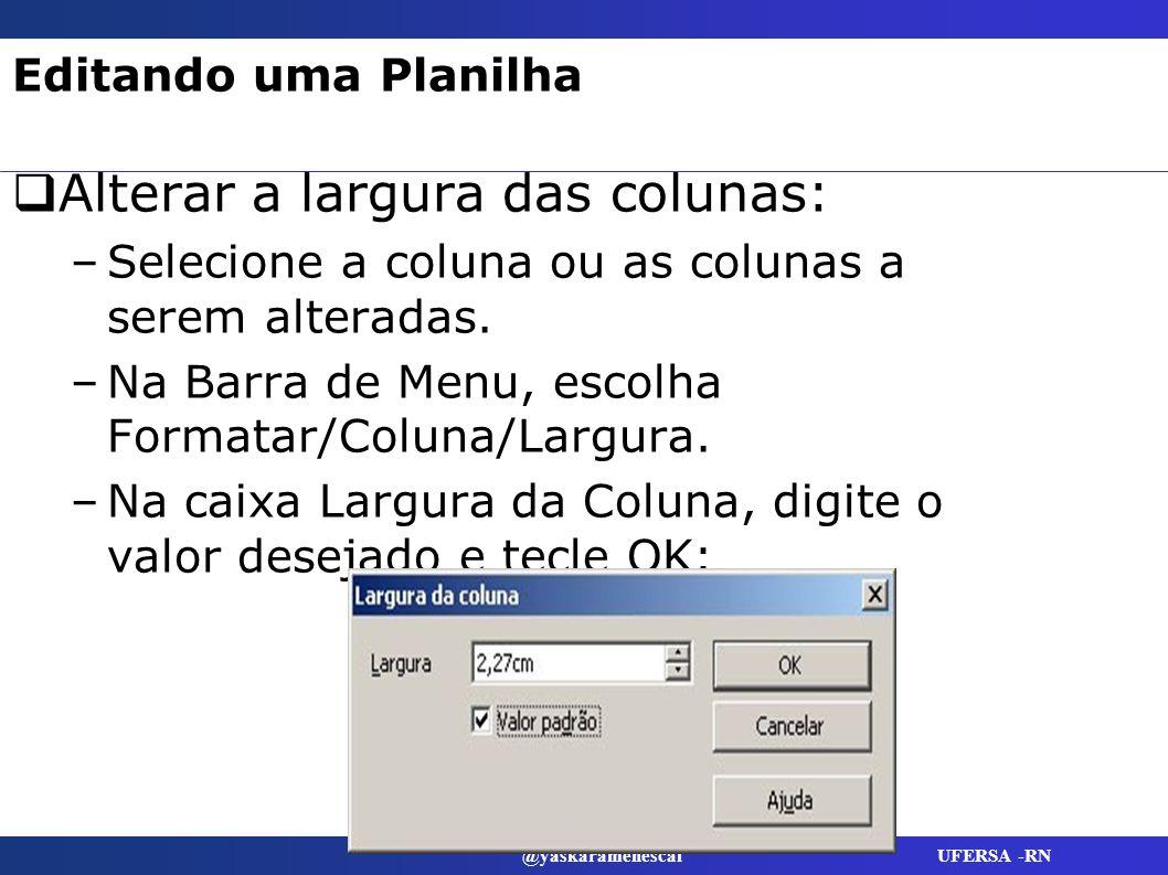 @yaskaramenescal UFERSA -RN Editando uma Planilha Alterar a largura das colunas: –Selecione a coluna ou as colunas a serem alteradas. –Na Barra de Men