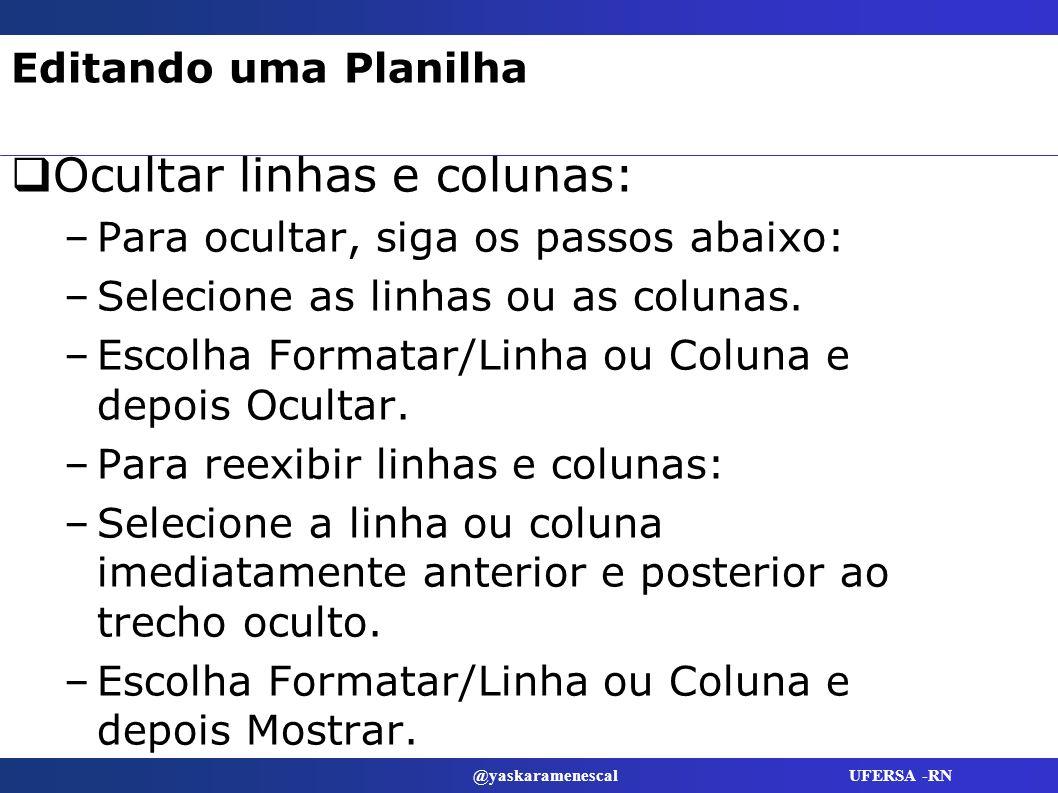 @yaskaramenescal UFERSA -RN Editando uma Planilha Ocultar linhas e colunas: –Para ocultar, siga os passos abaixo: –Selecione as linhas ou as colunas.