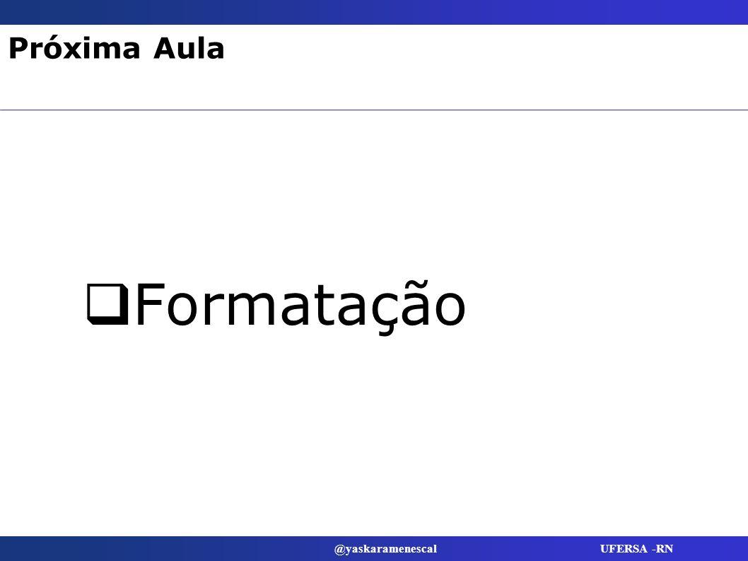 @yaskaramenescal UFERSA -RN Próxima Aula Formatação