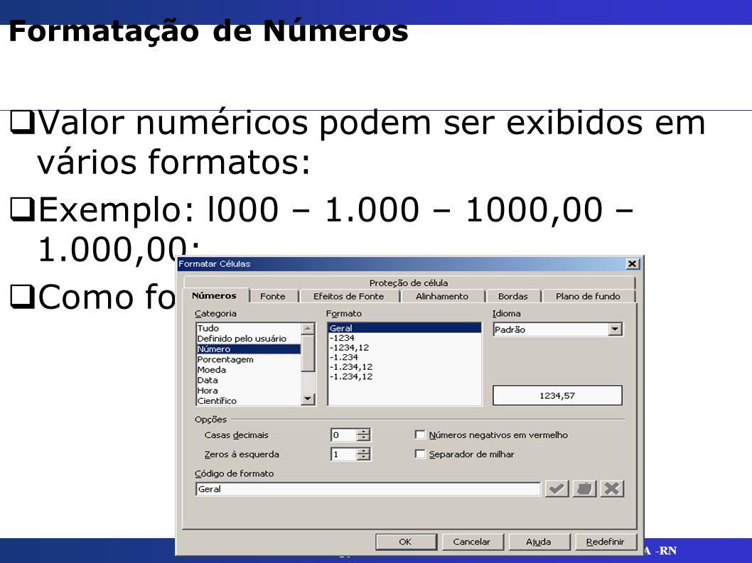 @yaskaramenescal UFERSA -RN Formatação de Números Valor numéricos podem ser exibidos em vários formatos: Exemplo: l000 – 1.000 – 1000,00 – 1.000,00: C