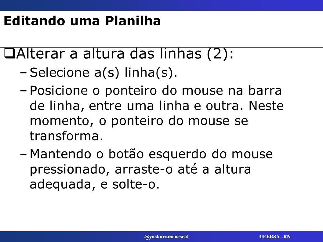 @yaskaramenescal UFERSA -RN Editando uma Planilha Alterar a altura das linhas (2): –Selecione a(s) linha(s). –Posicione o ponteiro do mouse na barra d