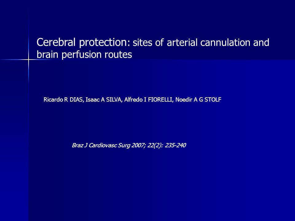 Cerebral protection : sites of arterial cannulation and brain perfusion routes Ricardo R DIAS, Isaac A SILVA, Alfredo I FIORELLI, Noedir A G STOLF Bra
