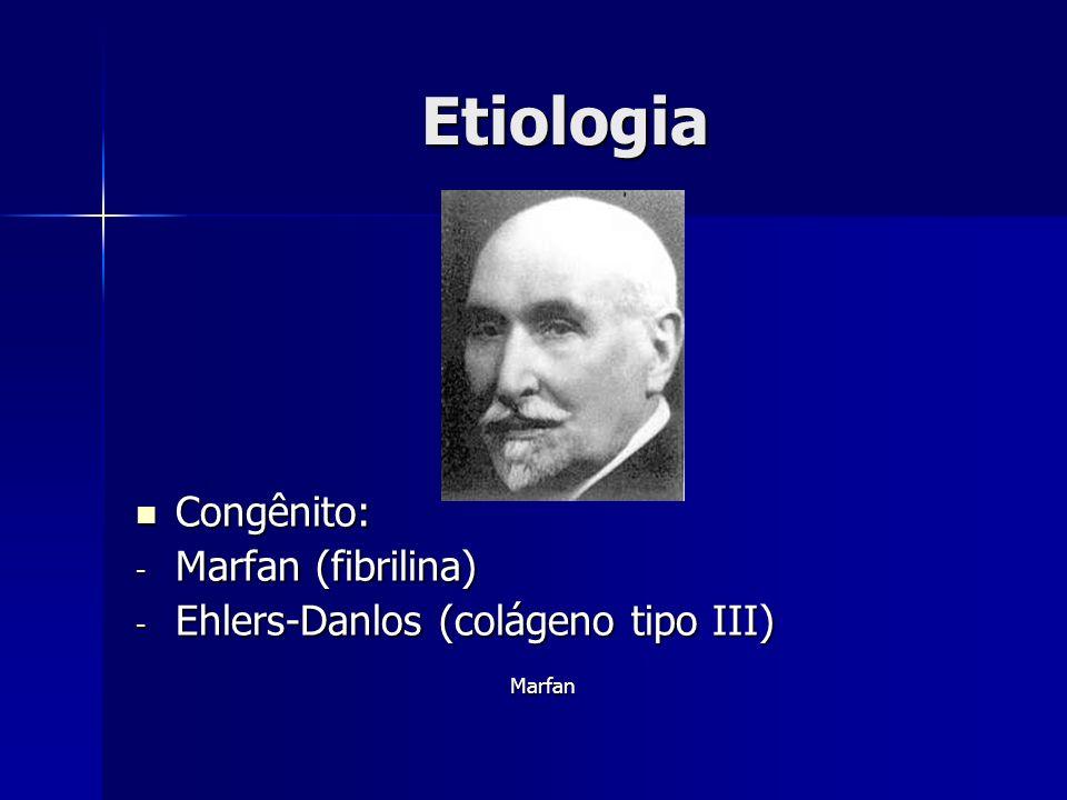 Etiologia Congênito: Congênito: - Marfan (fibrilina) - Ehlers-Danlos (colágeno tipo III) Marfan
