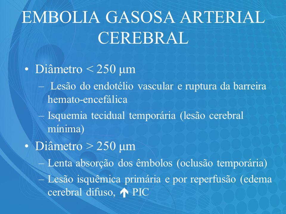 EMBOLIA GASOSA ARTERIAL CEREBRAL Diâmetro < 250 μm – Lesão do endotélio vascular e ruptura da barreira hemato-encefálica –Isquemia tecidual temporária