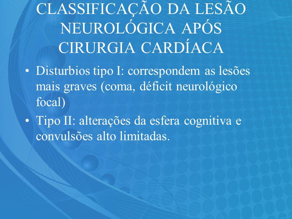 CLASSIFICAÇÃO DA LESÃO NEUROLÓGICA APÓS CIRURGIA CARDÍACA Disturbios tipo I: correspondem as lesões mais graves (coma, déficit neurológico focal) Tipo