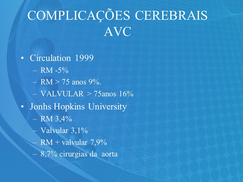 COMPLICAÇÕES CEREBRAIS AVC Circulation 1999 –RM -5% –RM > 75 anos 9%. –VALVULAR > 75anos 16% Jonhs Hopkins University –RM 3,4% –Valvular 3,1% –RM + va