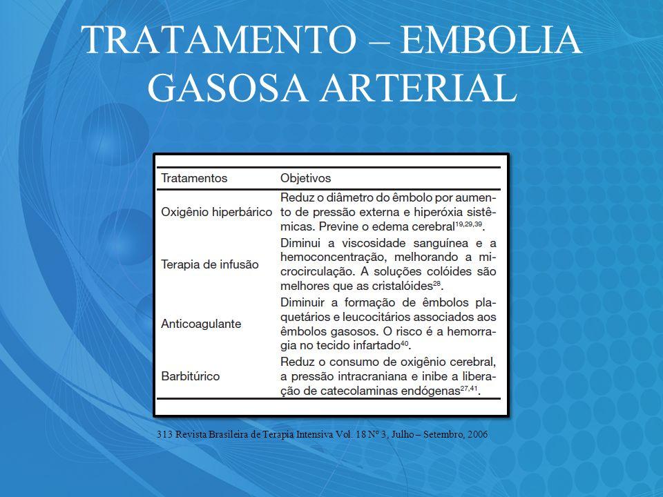 TRATAMENTO – EMBOLIA GASOSA ARTERIAL 313 Revista Brasileira de Terapia Intensiva Vol. 18 Nº 3, Julho – Setembro, 2006