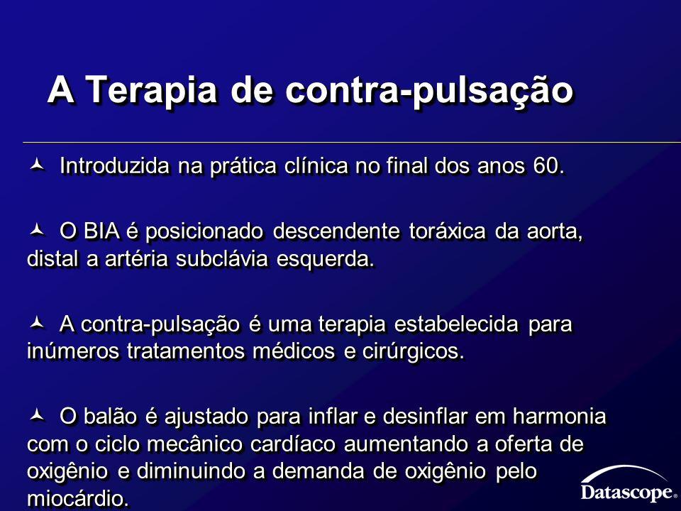 A Terapia de contra-pulsação Introduzida na prática clínica no final dos anos 60. Introduzida na prática clínica no final dos anos 60. O BIA é posicio