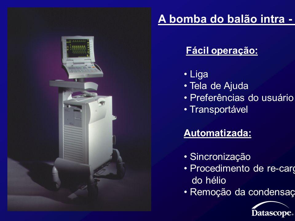 A bomba do balão intra - aórtico Fácil operação: Liga Tela de Ajuda Preferências do usuário Transportável Automatizada: Sincronização Procedimento de