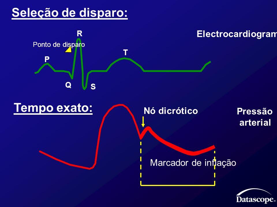 Seleção de disparo: R P Q S T Electrocardiograma Ponto de disparo Tempo exato: Pressão arterial Nó dicrótico Marcador de inflação