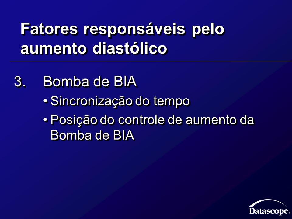 Fatores responsáveis pelo aumento diastólico 3.Bomba de BIA Sincronização do tempoSincronização do tempo Posição do controle de aumento da Bomba de BI
