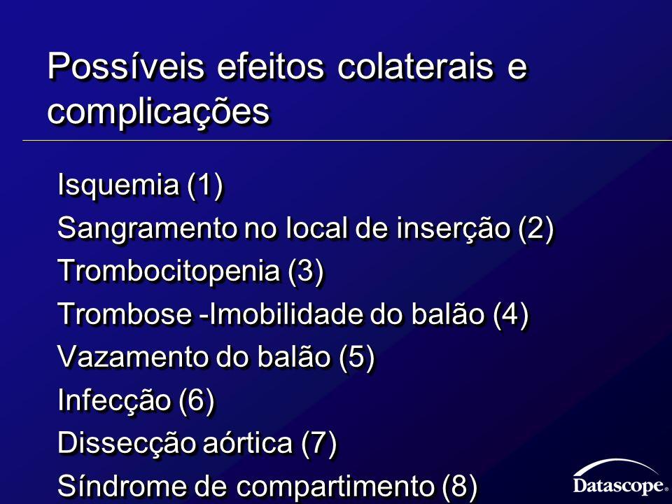 Possíveis efeitos colaterais e complicações Isquemia (1) Isquemia (1) Sangramento no local de inserção (2) Sangramento no local de inserção (2) Trombo