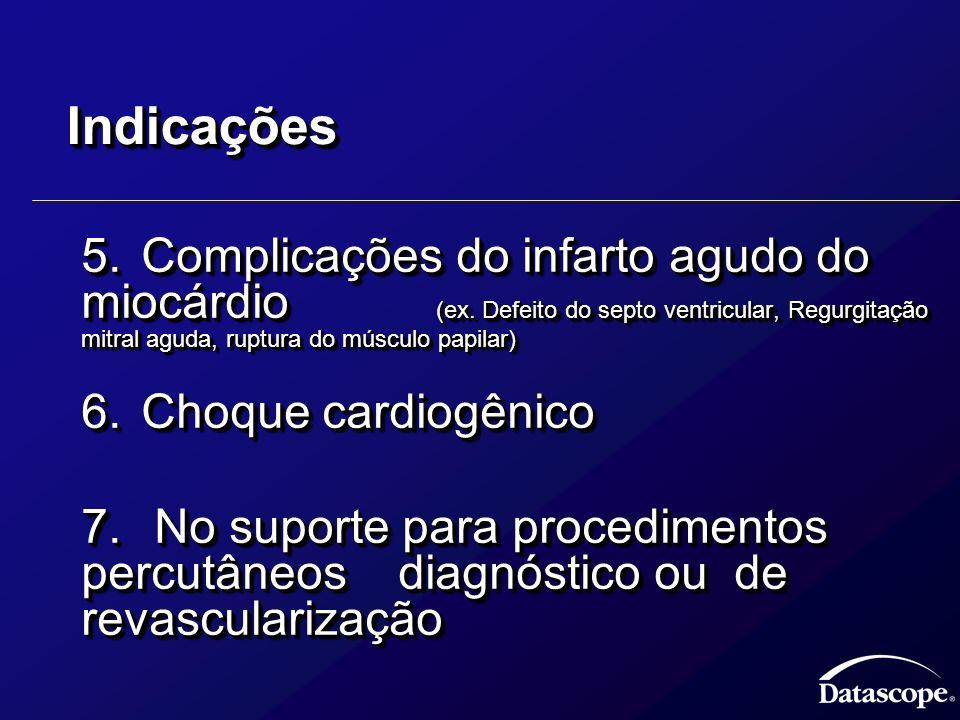IndicaçõesIndicações 5.Complicações do infarto agudo do miocárdio (ex. Defeito do septo ventricular, Regurgitação mitral aguda, ruptura do músculo pap