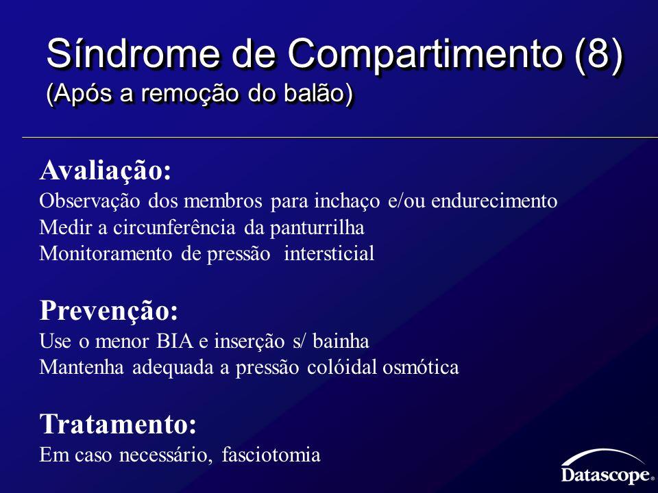 Síndrome de Compartimento (8) (Após a remoção do balão) Avaliação: Observação dos membros para inchaço e/ou endurecimento Medir a circunferência da pa
