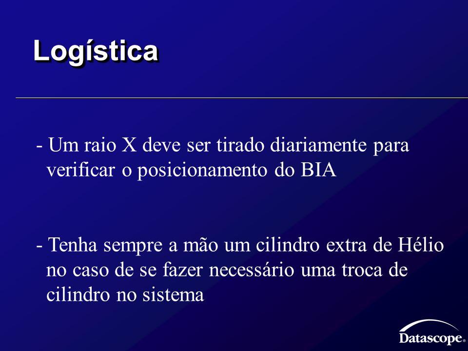 LogísticaLogística - Um raio X deve ser tirado diariamente para verificar o posicionamento do BIA - Tenha sempre a mão um cilindro extra de Hélio no c