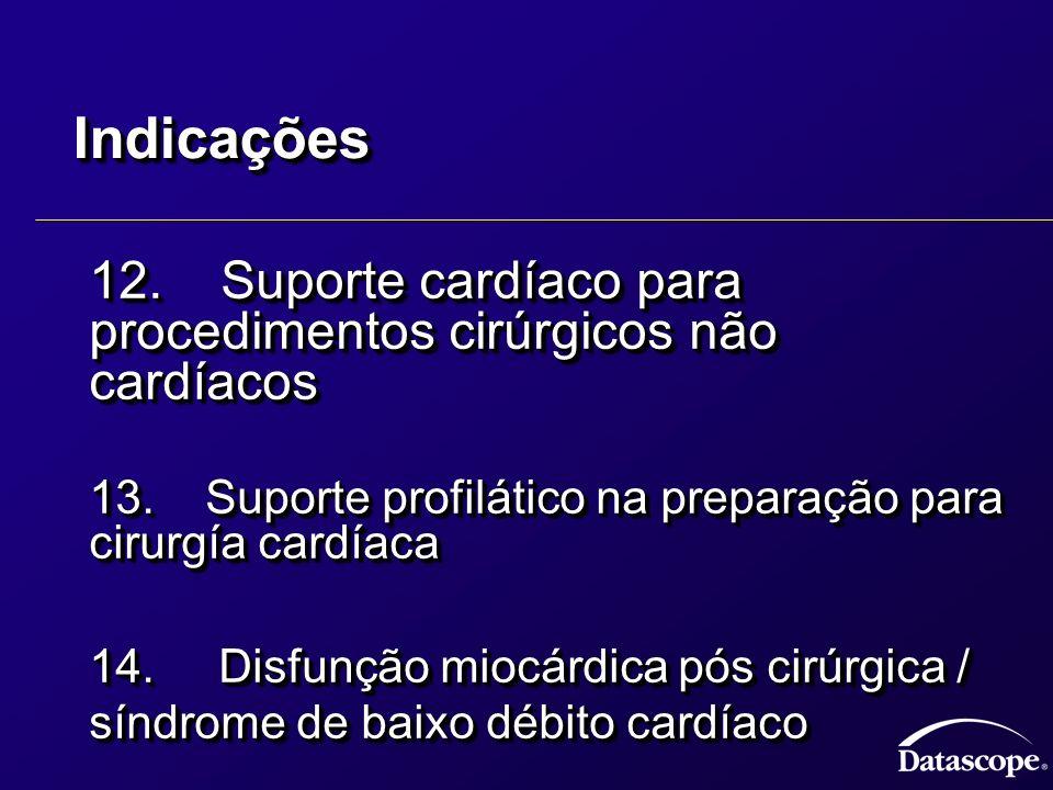 IndicaçõesIndicações 12. Suporte cardíaco para procedimentos cirúrgicos não cardíacos 12. Suporte cardíaco para procedimentos cirúrgicos não cardíacos