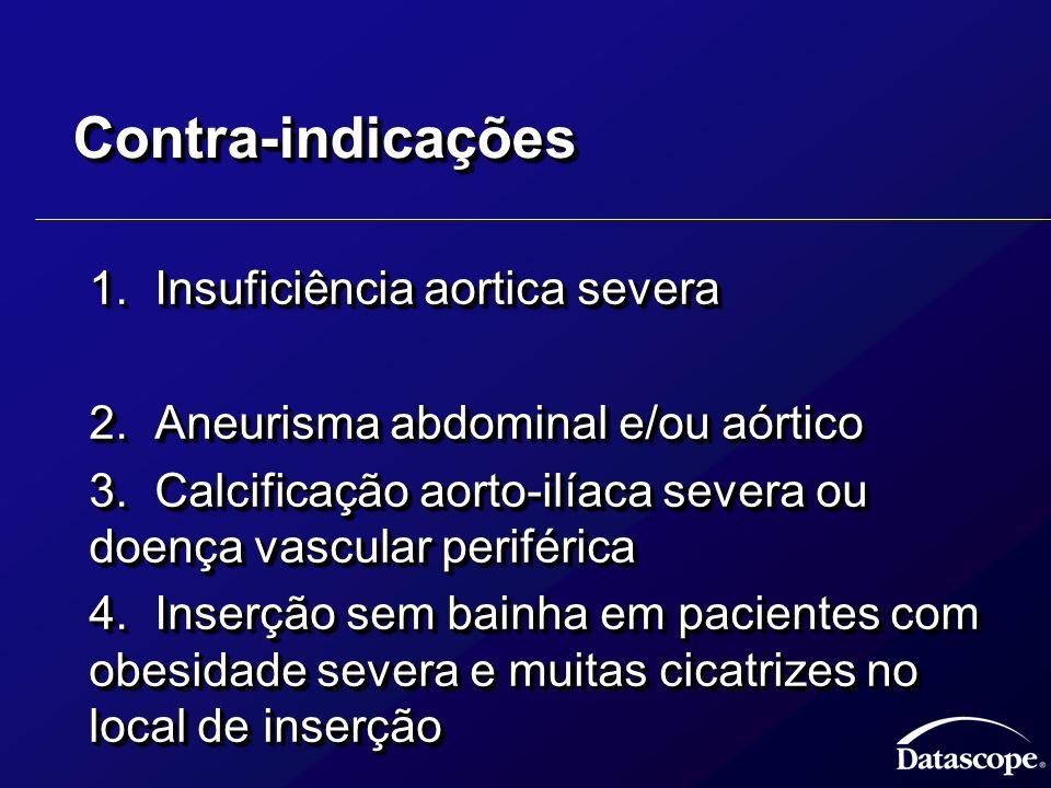 Contra-indicaçõesContra-indicações 1.Insuficiência aortica severa 1.Insuficiência aortica severa 2.Aneurisma abdominal e/ou aórtico 2.Aneurisma abdomi