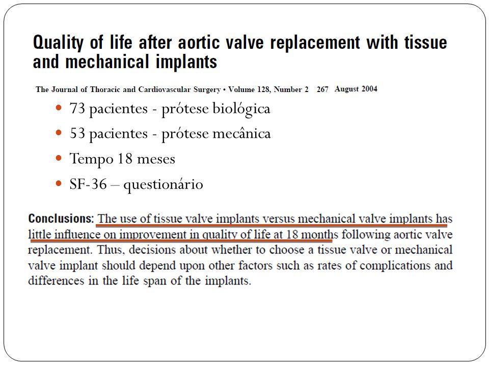 73 pacientes - prótese biológica 53 pacientes - prótese mecânica Tempo 18 meses SF-36 – questionário