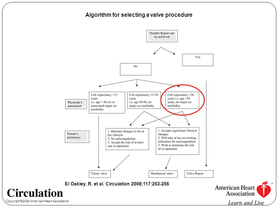 Copyright ©2008 American Heart Association El Oakley, R. et al. Circulation 2008;117:253-256 Algorithm for selecting a valve procedure