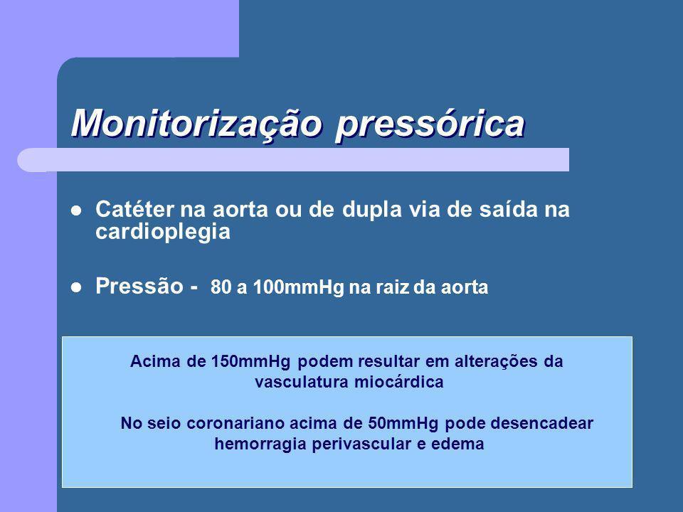 Monitorização pressórica Catéter na aorta ou de dupla via de saída na cardioplegia Pressão - 80 a 100mmHg na raiz da aorta Acima de 150mmHg podem resu