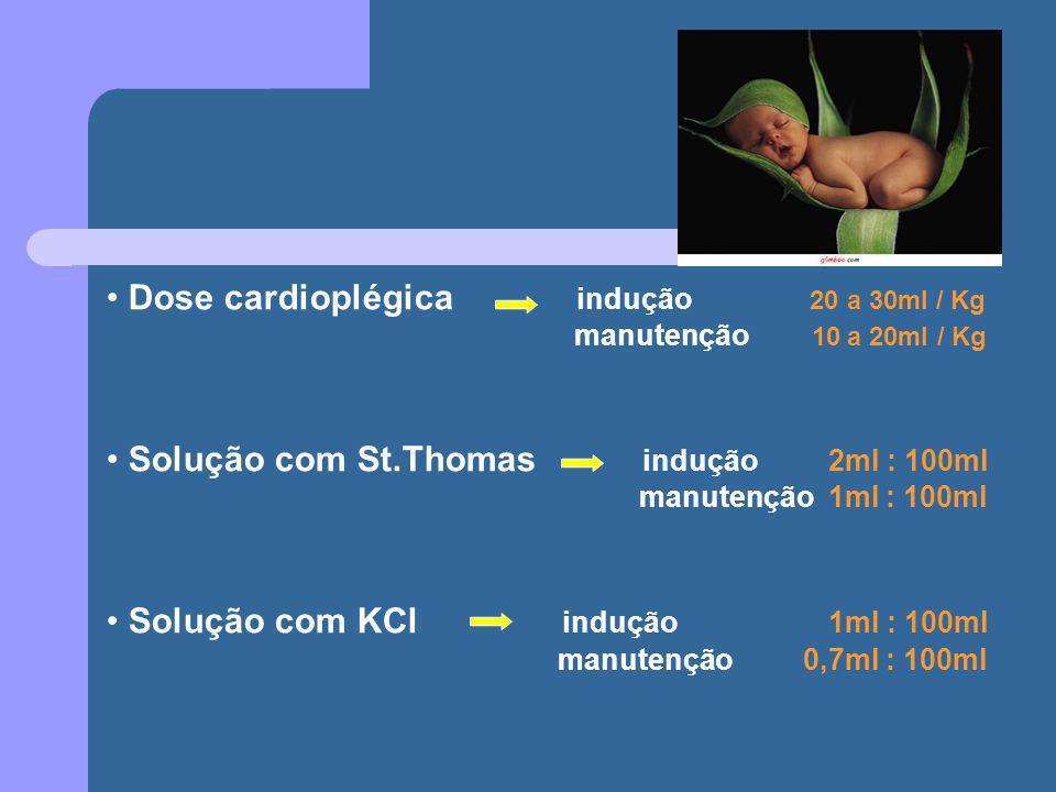 Dose cardioplégica indução 20 a 30ml / Kg manutenção 10 a 20ml / Kg Solução com St.Thomas indução 2ml : 100ml manutenção 1ml : 100ml Solução com KCl i