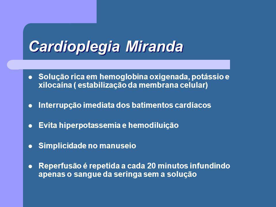 Cardioplegia Miranda Solução rica em hemoglobina oxigenada, potássio e xilocaína ( estabilização da membrana celular) Interrupção imediata dos batimen