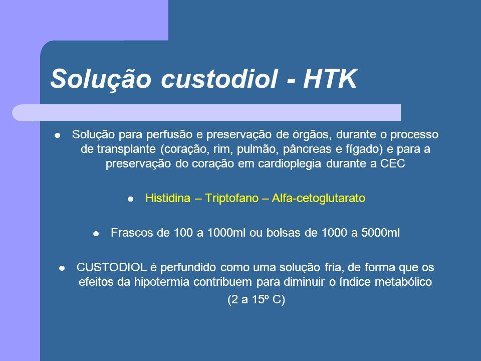 Solução custodiol - HTK Solução para perfusão e preservação de órgãos, durante o processo de transplante (coração, rim, pulmão, pâncreas e fígado) e p