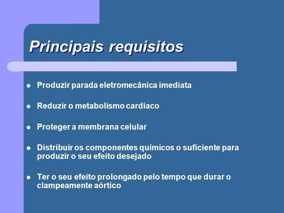 Principais requisitos Produzir parada eletromecânica imediata Reduzir o metabolismo cardíaco Proteger a membrana celular Distribuir os componentes quí