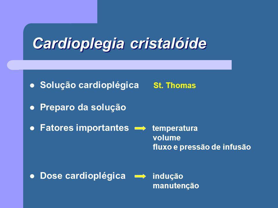 Dose cardioplégica indução 20 a 30ml / Kg manutenção 10 a 20ml / Kg Solução - St.Thomas indução 2ml : 100ml manutenção 1ml : 100ml Repetir a solução cardioplégica a cada 15 - 20 minutos